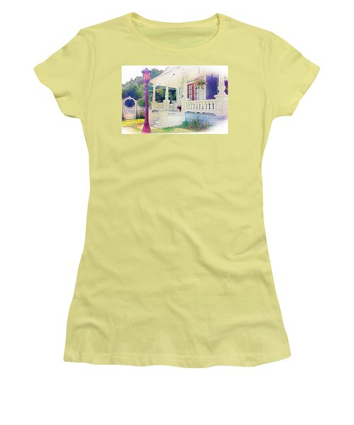 The Gate Porch And The Lamp Post Women's T-Shirt (Junior Cut) by Becky Lupe