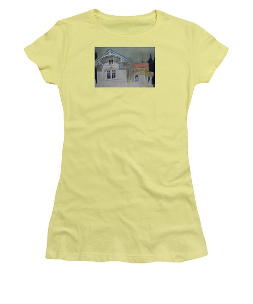 Women's T-Shirt (Junior Cut) featuring the painting the Ginger Bread House by Len Stomski