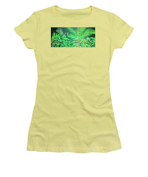 Women's T-Shirt (Athletic Fit) featuring the painting The Green Flower Garden by Darren Cannell