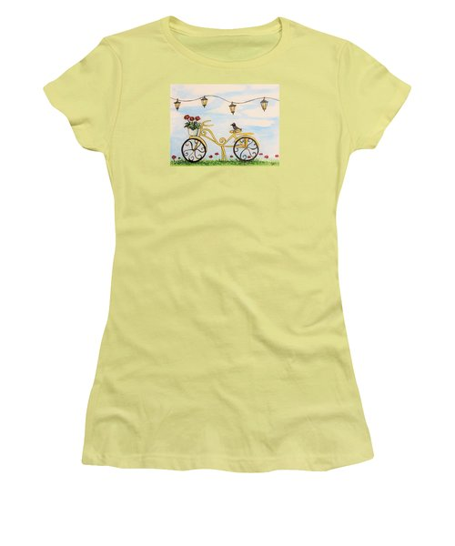 Women's T-Shirt (Junior Cut) featuring the painting The Happy Yellow Bicycle by Elizabeth Robinette Tyndall