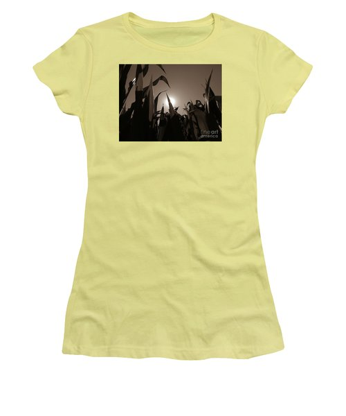The Hiding Sun - Sepia Women's T-Shirt (Athletic Fit)