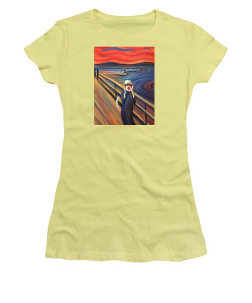 Women's T-Shirt (Junior Cut) featuring the painting The Holler by Randol Burns