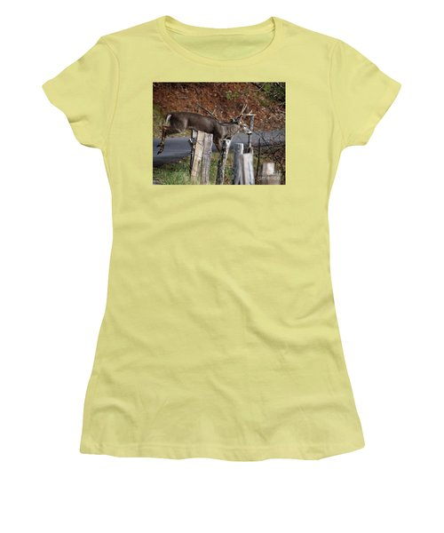 Women's T-Shirt (Junior Cut) featuring the photograph The Jumper 2 by Douglas Stucky