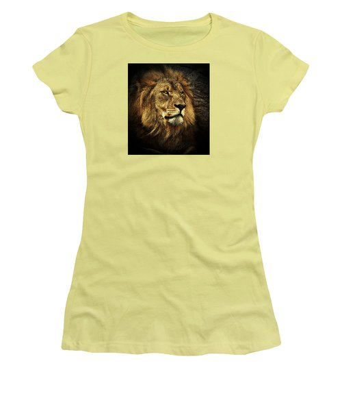 Women's T-Shirt (Junior Cut) featuring the mixed media The King by Elaine Malott