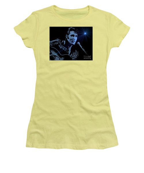 The King Rocks On Women's T-Shirt (Junior Cut) by Al Bourassa