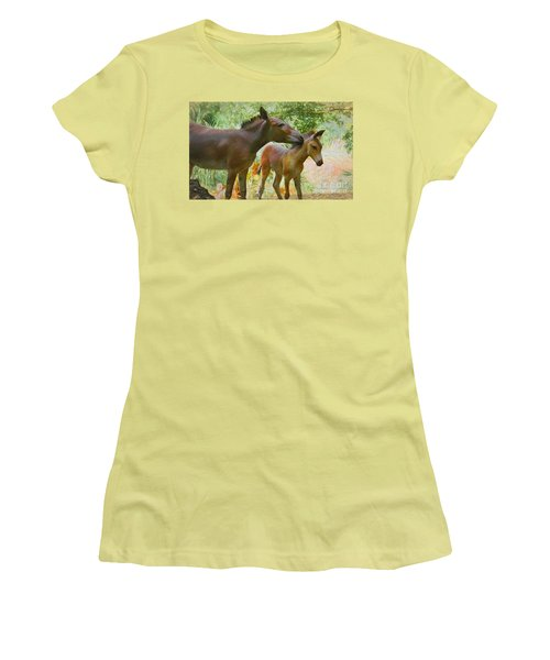 Women's T-Shirt (Junior Cut) featuring the painting The Kiss Edition 3 by Judy Kay