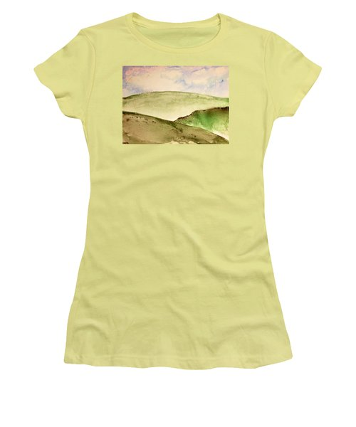 Women's T-Shirt (Athletic Fit) featuring the painting The Little Hills Rejoice by Antonio Romero