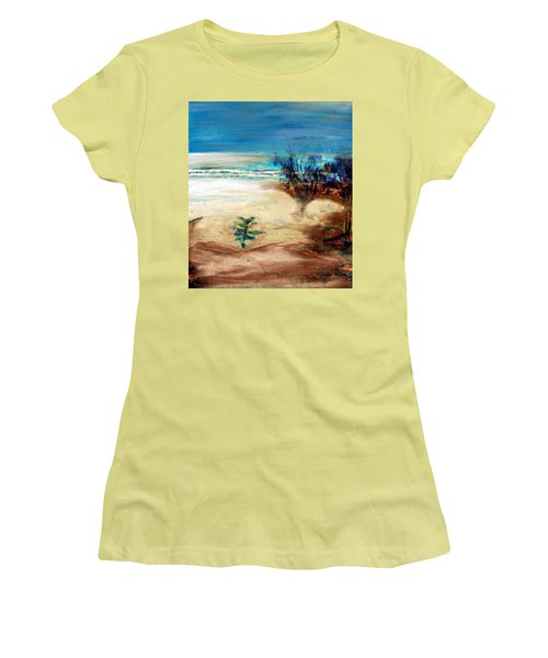 Women's T-Shirt (Athletic Fit) featuring the painting The Little Pine Tree by Winsome Gunning