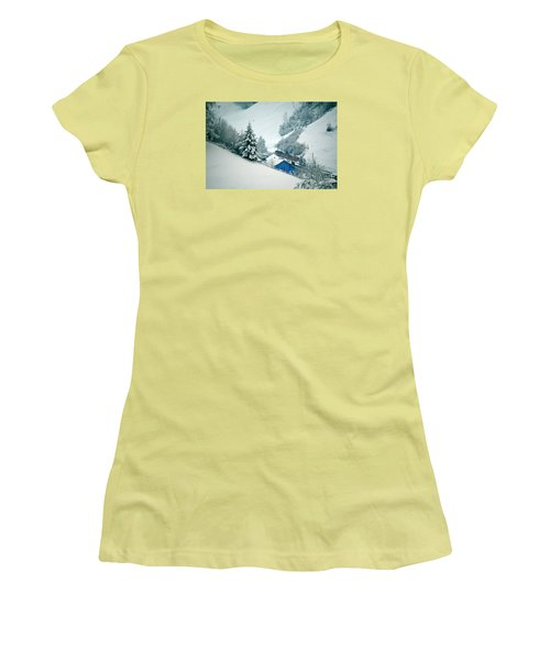 Women's T-Shirt (Junior Cut) featuring the photograph The Little Red Train - Winter In Switzerland  by Susanne Van Hulst