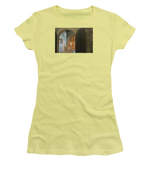 An Early Morning At The Medieval Abbey Women's T-Shirt (Junior Cut) by Yvonne Wright