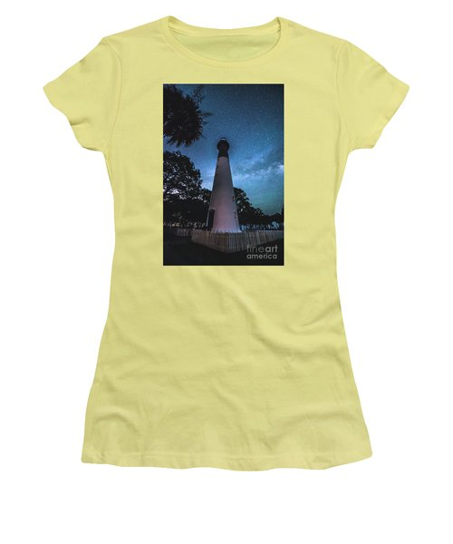 The Milky Way At Saint Helena Light House Women's T-Shirt (Athletic Fit)