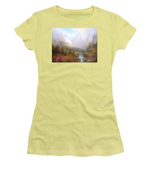 The Misty Mountains Women's T-Shirt (Junior Cut) by Joe  Gilronan