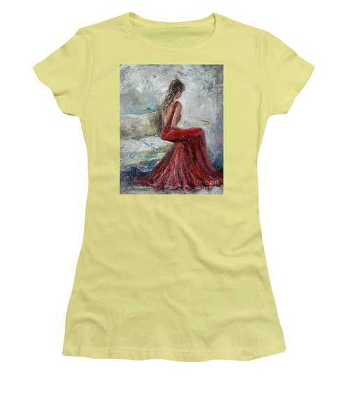 Women's T-Shirt (Junior Cut) featuring the painting The Moment by Jennifer Beaudet
