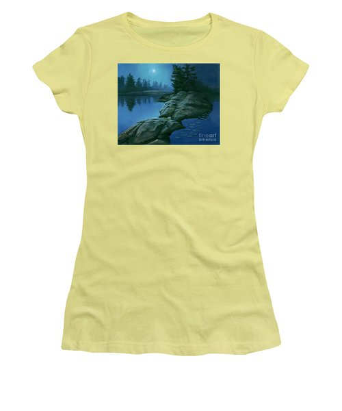 Women's T-Shirt (Junior Cut) featuring the painting The Moonlight Hour by Michael Swanson