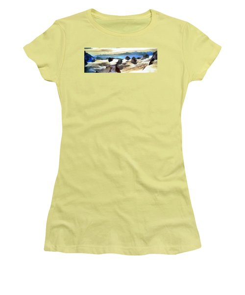 Women's T-Shirt (Junior Cut) featuring the painting The Mountain Paint by Odon Czintos