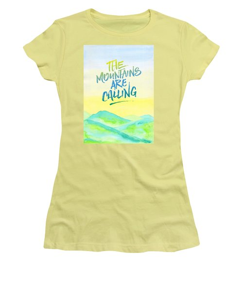 The Mountains Are Calling Yellow Blue Sky Watercolor Painting Women's T-Shirt (Athletic Fit)