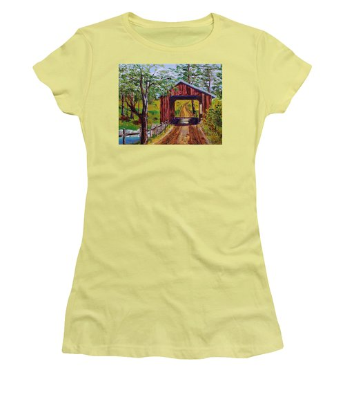 The Old Covered Bridge Women's T-Shirt (Junior Cut) by Mike Caitham