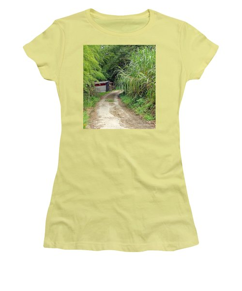 Women's T-Shirt (Junior Cut) featuring the photograph The Old Forest Road by Yali Shi