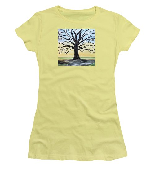 Women's T-Shirt (Junior Cut) featuring the painting The Stained Old Oak Tree by Elizabeth Robinette Tyndall