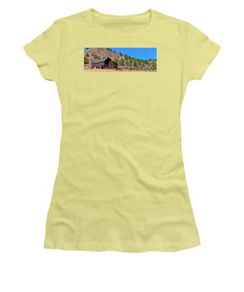 The Old Pine Creek Ranch Barn And Coral Women's T-Shirt (Athletic Fit)