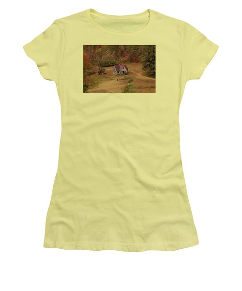 Women's T-Shirt (Junior Cut) featuring the digital art The Oldest House In North Carolina by Sharon Batdorf