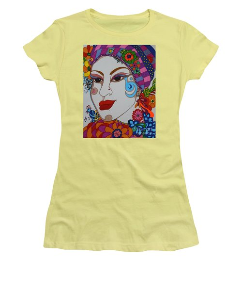 Women's T-Shirt (Junior Cut) featuring the painting The Opera Singer by Alison Caltrider