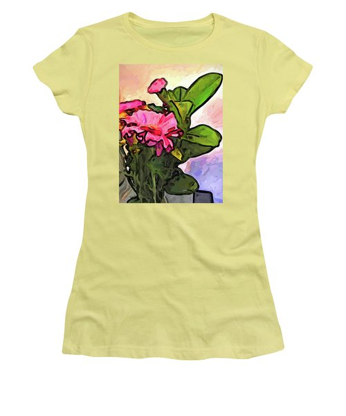 The Pink Flowers On The Left With The Green Leaves Women's T-Shirt (Athletic Fit)