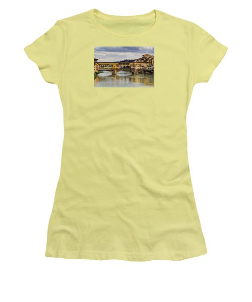 Women's T-Shirt (Junior Cut) featuring the photograph The Ponte Vecchio by Wade Brooks