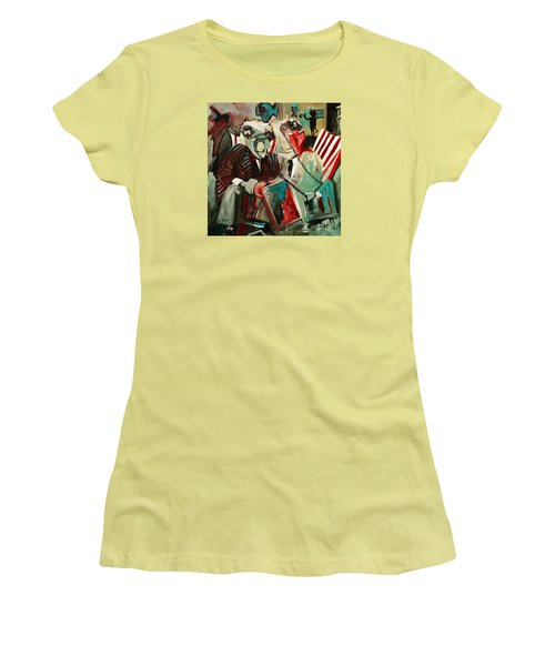 Women's T-Shirt (Junior Cut) featuring the painting The Portal by Helen Syron
