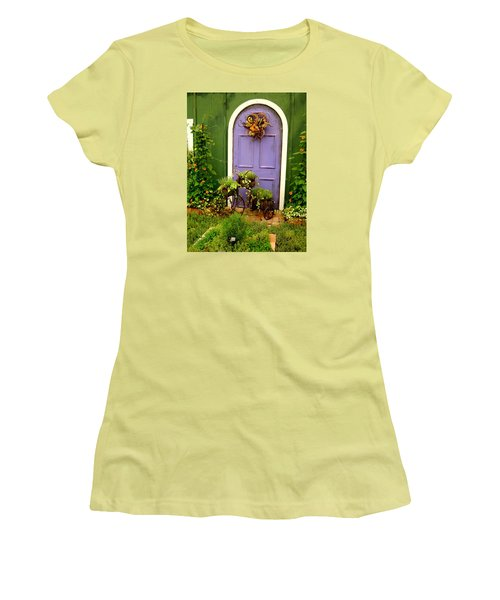 The Purple Door Women's T-Shirt (Junior Cut) by Michiale Schneider