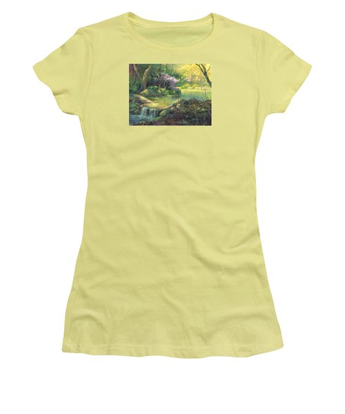 Women's T-Shirt (Junior Cut) featuring the painting The Quiet Creek by Michael Humphries