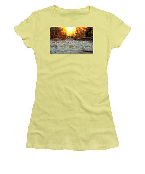 Women's T-Shirt (Junior Cut) featuring the digital art The Railroad Tracks From A New Perspective by Chris Flees