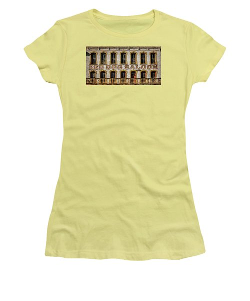 Women's T-Shirt (Junior Cut) featuring the photograph The Red Dog by Mitch Shindelbower