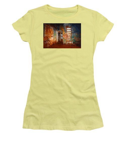 Women's T-Shirt (Junior Cut) featuring the painting The Renovation by Holly Ethan