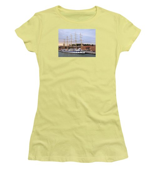 The Royal Clipper Docked In Venice Italy Women's T-Shirt (Junior Cut) by Richard Rosenshein