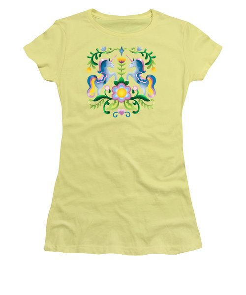 The Royal Society Of Cute Unicorns Light Background Women's T-Shirt (Athletic Fit)