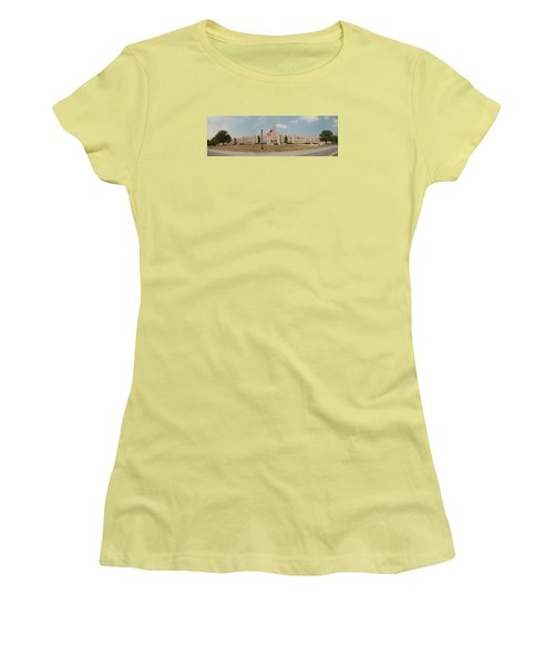 Women's T-Shirt (Junior Cut) featuring the photograph The School On The Hill Panorama by Mark Dodd