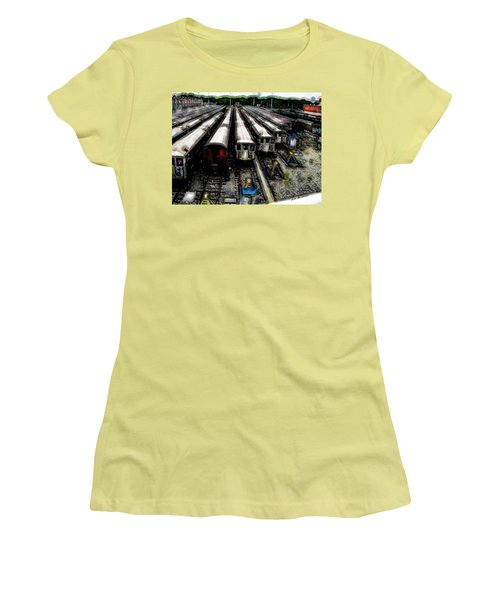 Women's T-Shirt (Junior Cut) featuring the photograph The Seven Train Yard Queens Ny by Iowan Stone-Flowers
