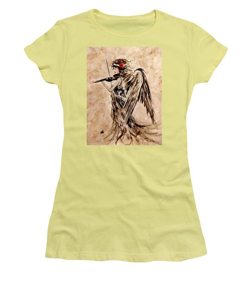 Women's T-Shirt (Junior Cut) featuring the painting The Sound Of An Angel. by Cristina Mihailescu