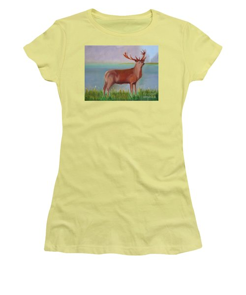 Women's T-Shirt (Junior Cut) featuring the painting The Stag by Rod Jellison
