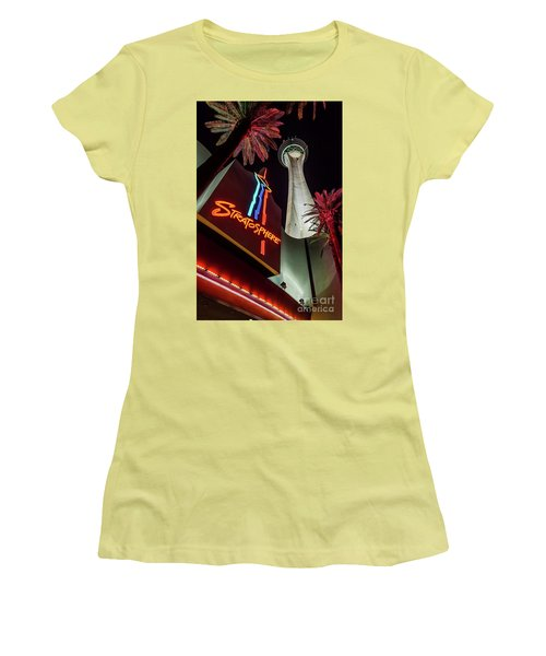 Women's T-Shirt (Junior Cut) featuring the photograph The Stratosphere Tower Entrance by Aloha Art