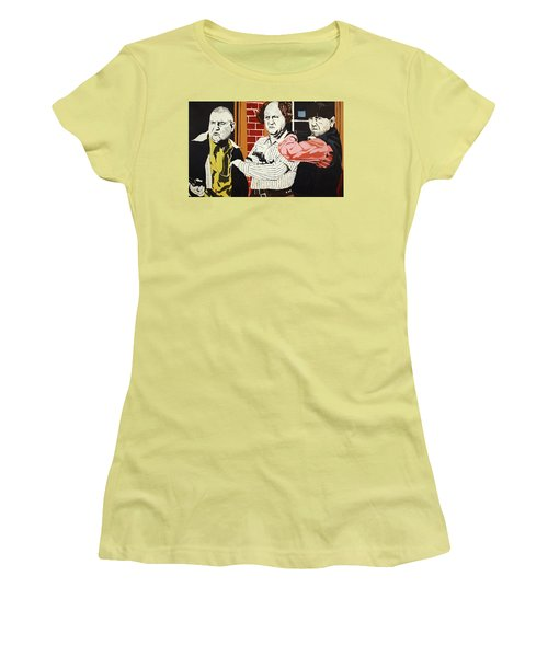 Women's T-Shirt (Junior Cut) featuring the painting The Three Stooges by Thomas Blood