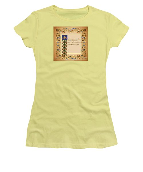 Women's T-Shirt (Junior Cut) featuring the digital art The Tree Grew Apples Square by Donna Huntriss