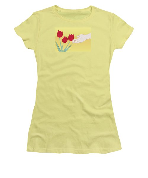 Women's T-Shirt (Junior Cut) featuring the digital art The Tulips by Milena Ilieva