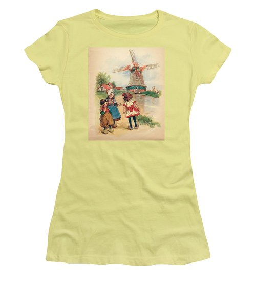 The Windmill And The Little Wooden Shoes Women's T-Shirt (Junior Cut) by Reynold Jay