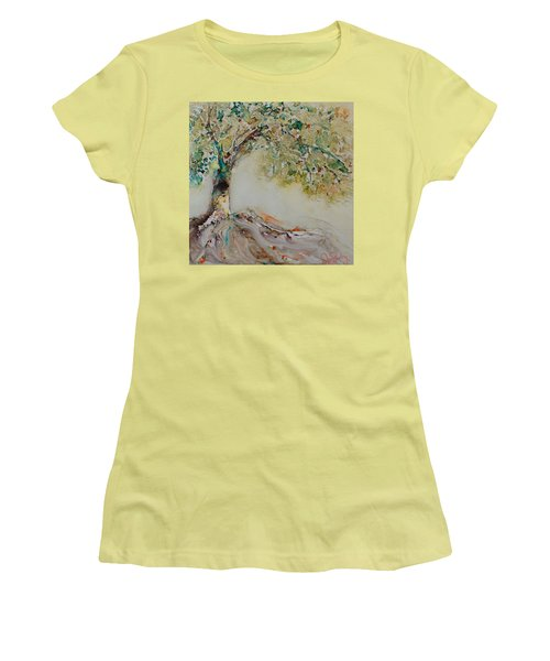Women's T-Shirt (Junior Cut) featuring the painting The Wisdom Tree by Joanne Smoley