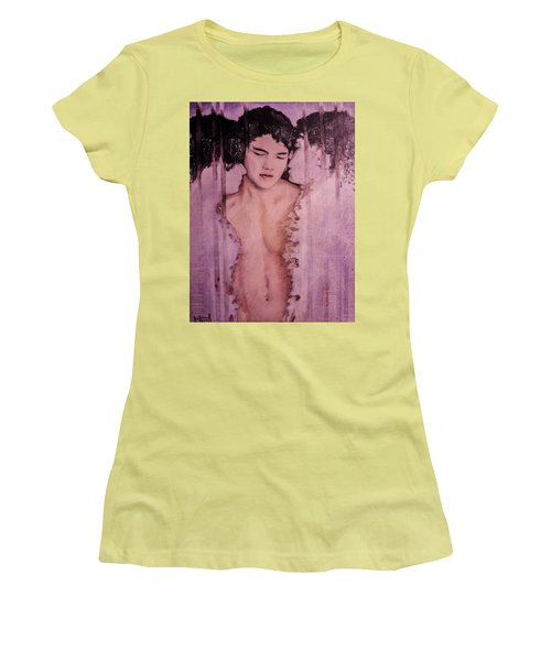 Women's T-Shirt (Junior Cut) featuring the painting The Word by Ron Richard Baviello