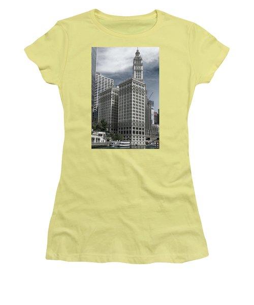 The Wrigley Building Women's T-Shirt (Junior Cut) by Alan Toepfer
