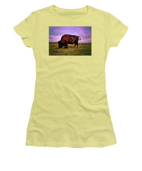Women's T-Shirt (Junior Cut) featuring the photograph Theodore Roosevelt National Park 008 - Buffalo by George Bostian