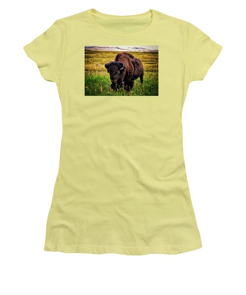 Women's T-Shirt (Junior Cut) featuring the photograph Theodore Roosevelt National Park 009 - Buffalo by George Bostian